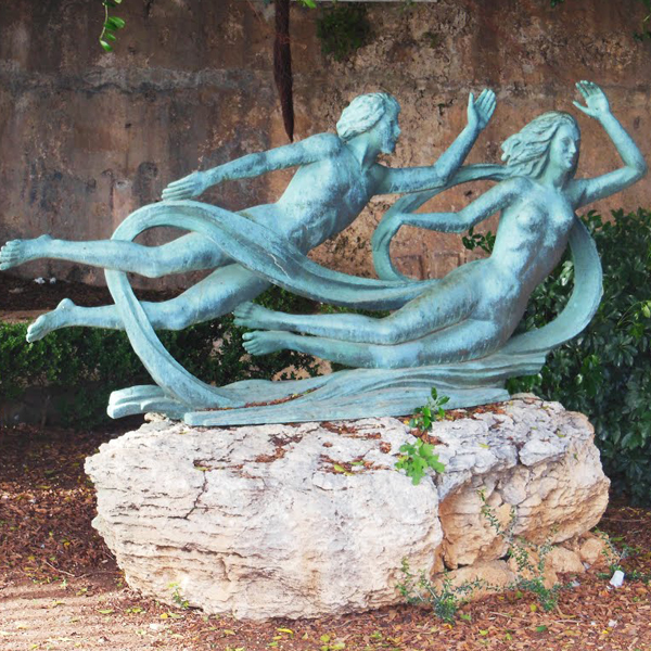 Ortygia is the mythical place where the God Alpheus – transformed into a river for love – rejoins the waters of his beloved nymph Arethusa, who had been turned into a fresh water spring by Artemis