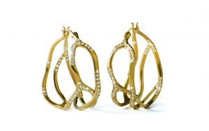 Earrings with diamonds by Annette Ferdinandsen