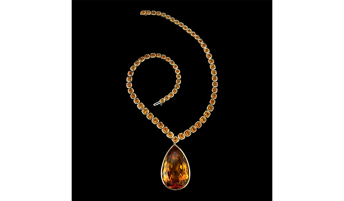 Citrine pear shape and cushion necklace