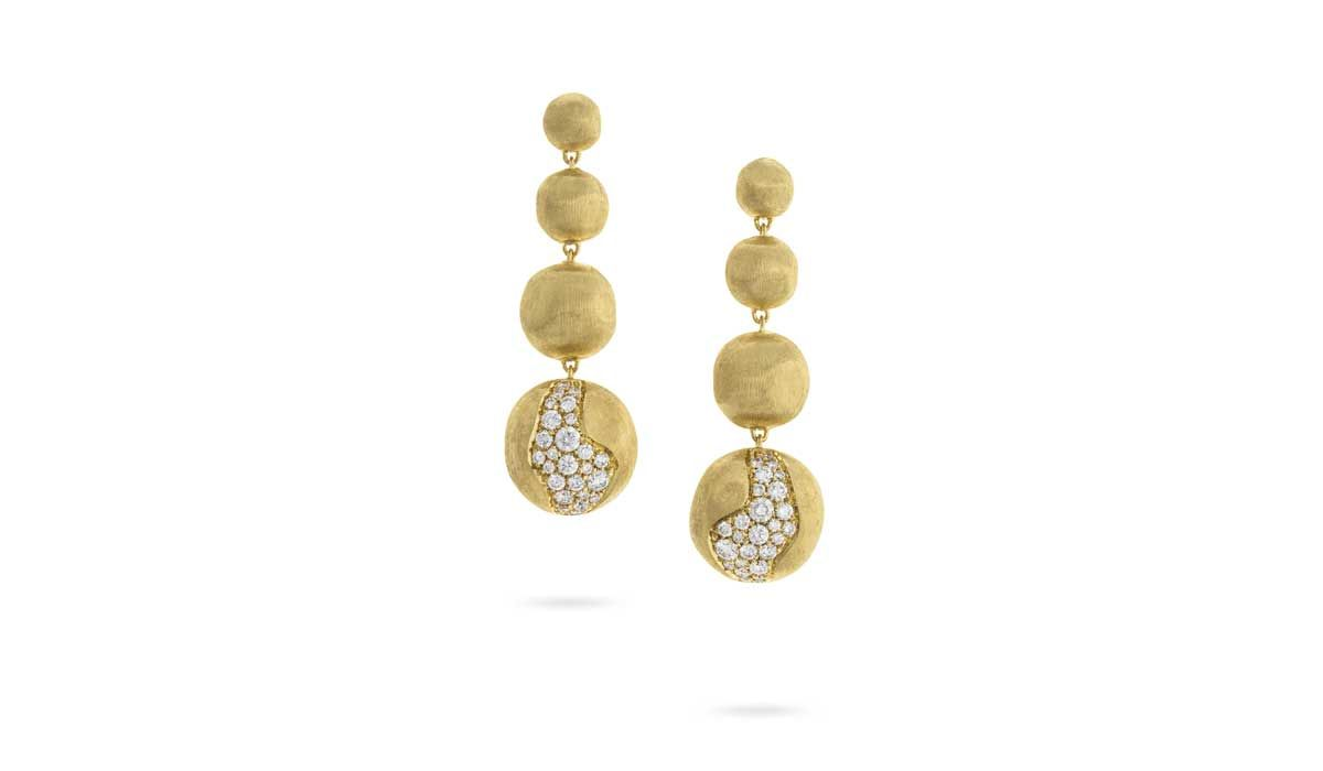 Gold boules and diamond earrings from the collection Africa Constellation.