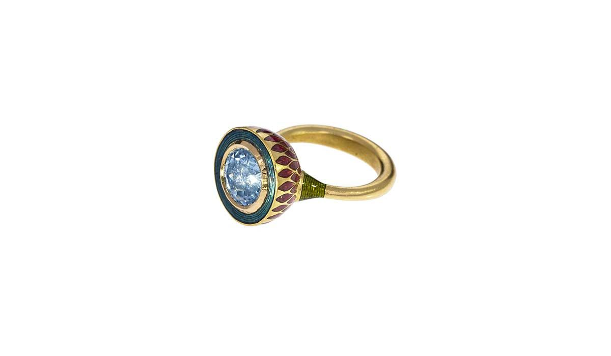 Aquamarine and enamel ring, Alice Cicolini.