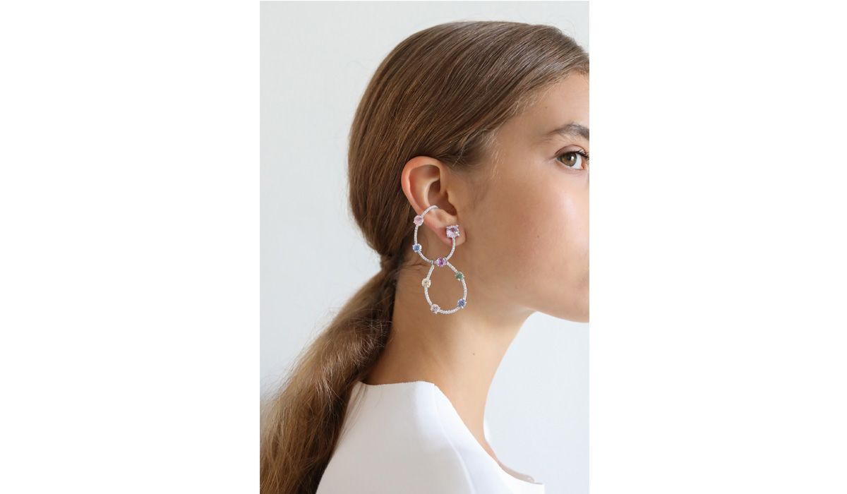 Gumballs and diamonds earrings, for the Essence presentation at the Musée des Arts Décoratifs in Paris, July 2018