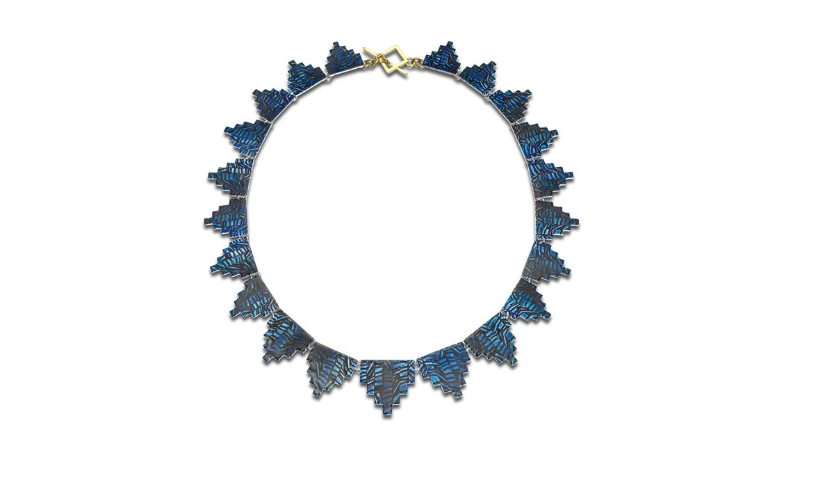 Karolina Baines, 'Weave' Necklace. Silver, 18ct Gold, Vitreous enamel