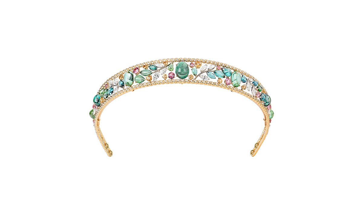 Chanel Blé Maria headband in yellow and white gold with pink spinels, Mandarin garnets, colored tourmalins and diamonds