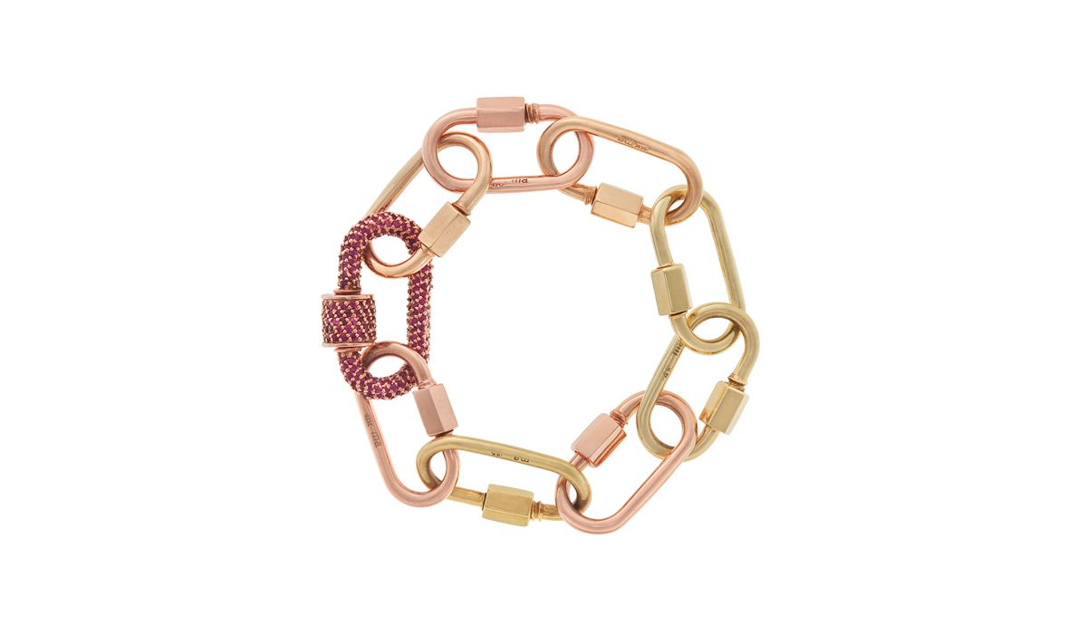 RUBY ALL STONE LOCK AND MEDIUM LOCK BRACELET BY MARLA AARON