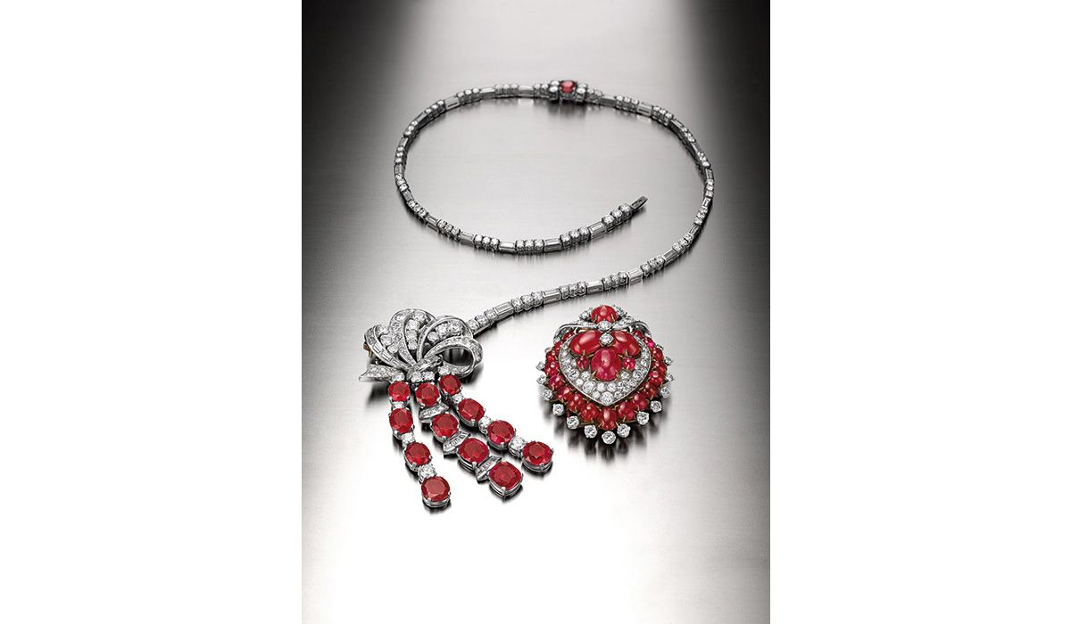 Necklace / brooch combination and brooch. BVLGARI, ca. 1955, 1963