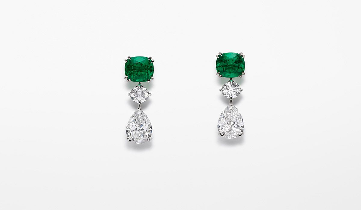 Red Carpet Earrings, with two cushion-shaped emeralds
