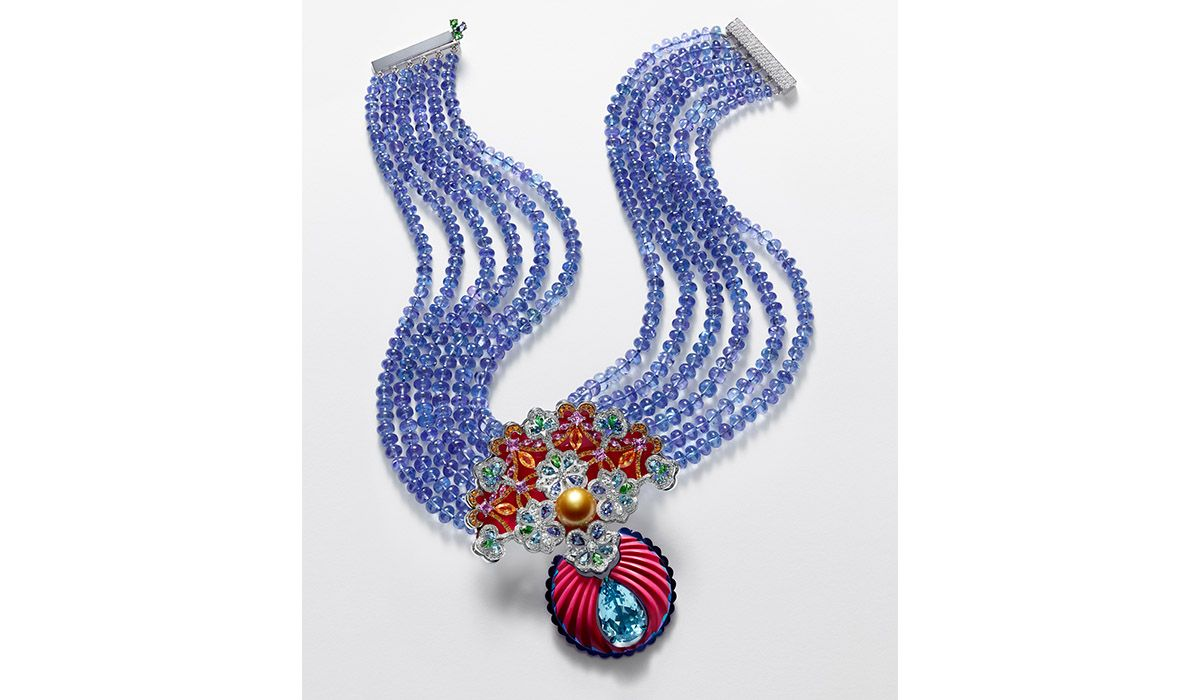 Red Carpet Necklace in white gold and titanium, composed of tanzanite beads, ceramic and aquamarine
