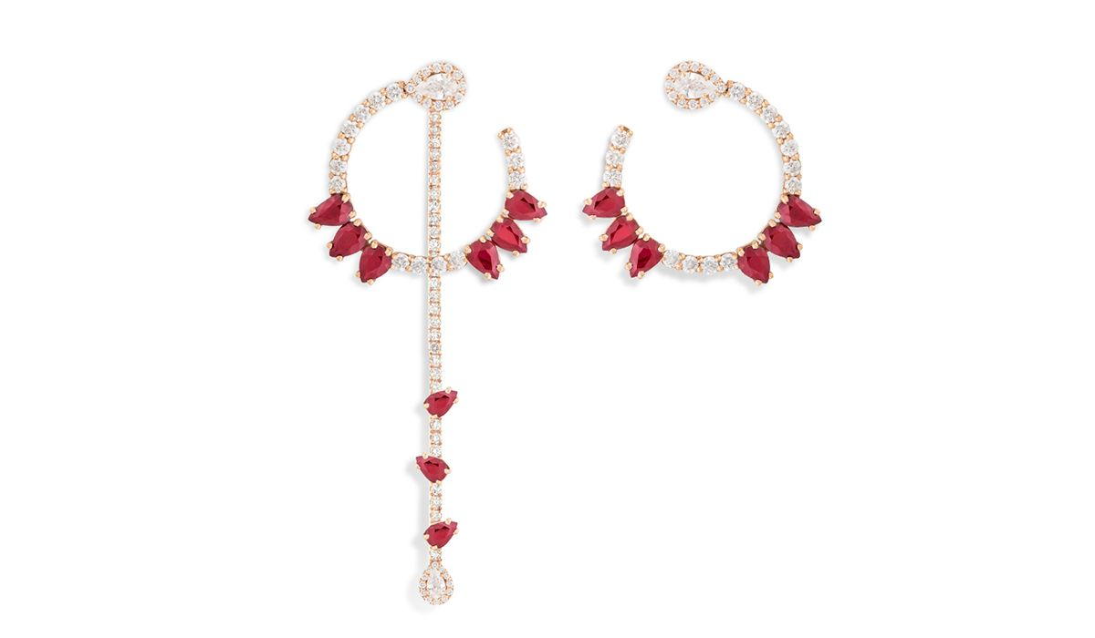 Ruby and diamonds earrings, Classic collection, Cedille Paris