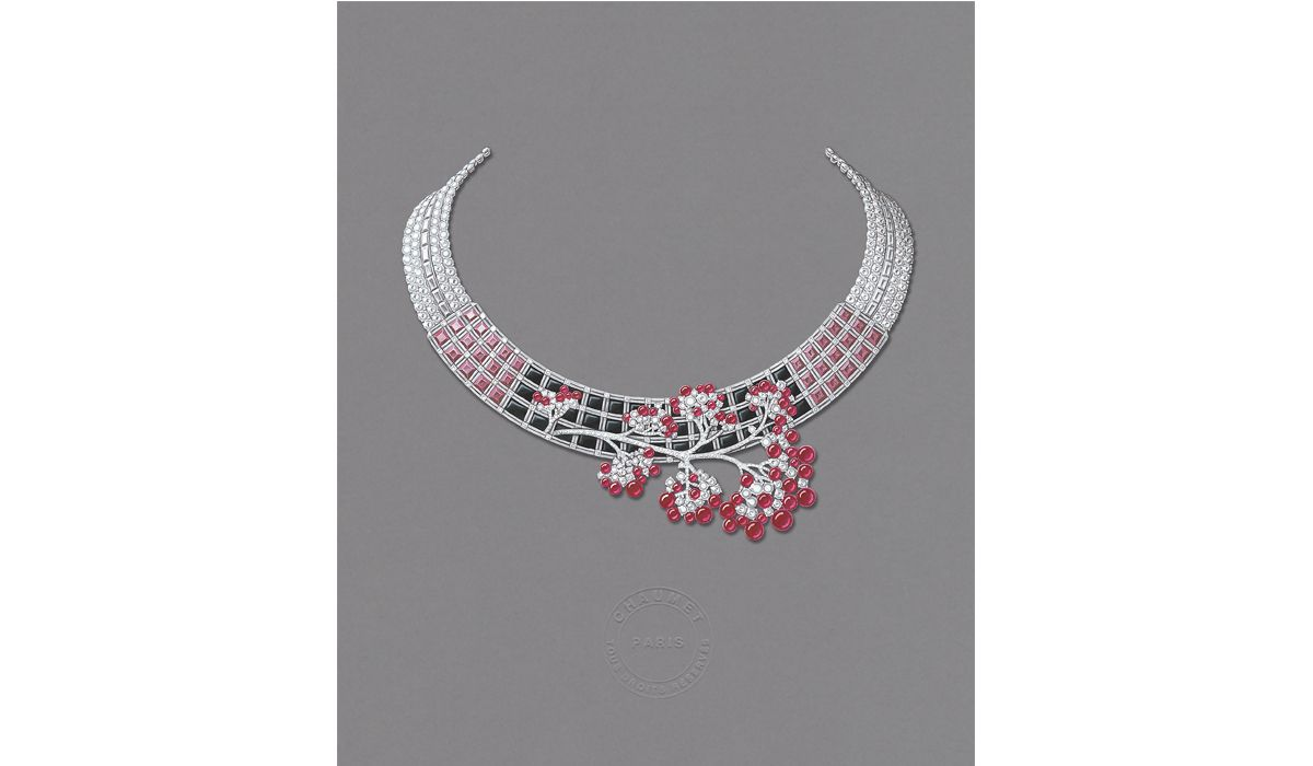 Japanese inspiration necklace Chaumet, 2018 Gouache