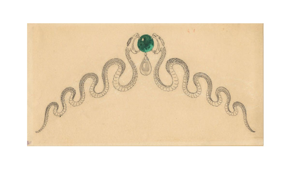 Preparatory drawing for a tiara with serpents facing an emerald, 1890-1900