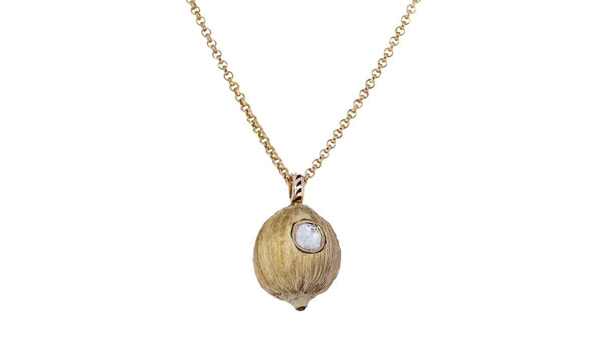 Deco coconut pod and polki diamond pendant, Dezso.