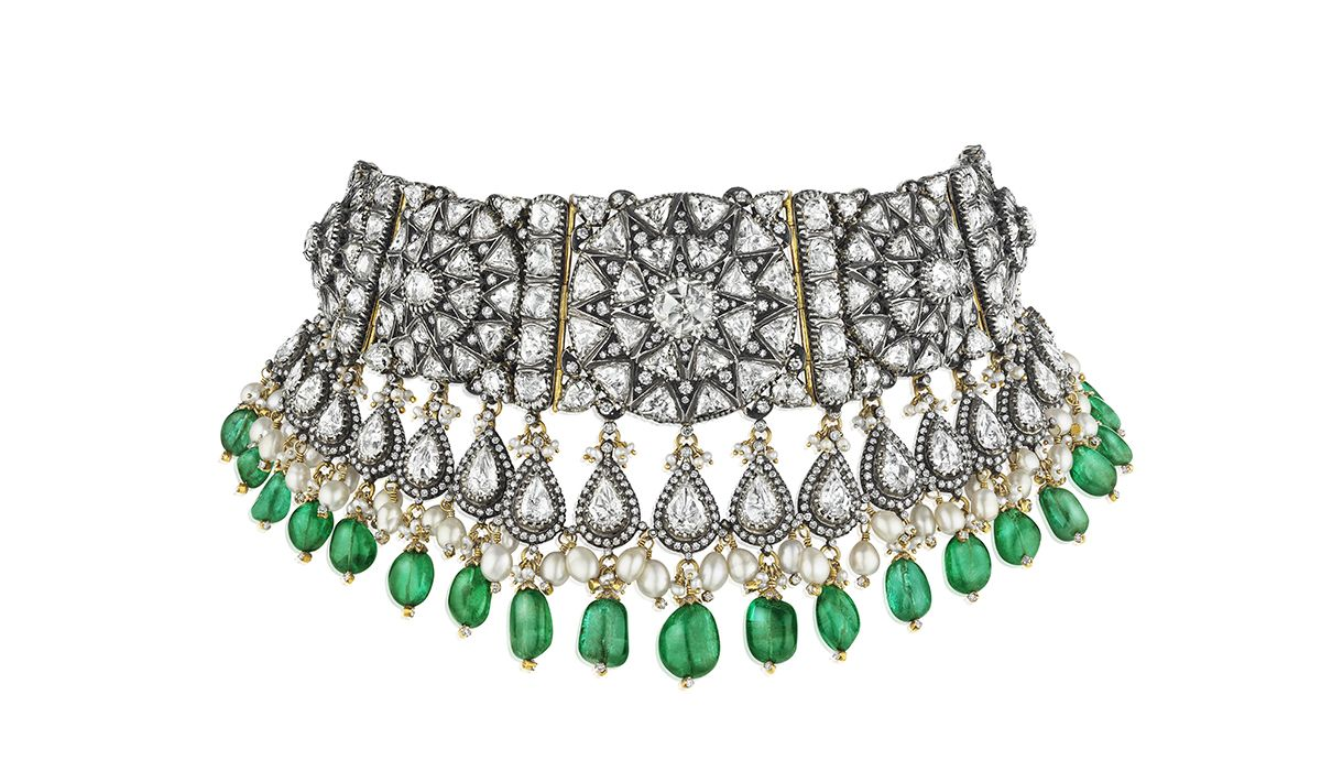 Emerald and diamond choker necklace from Gem Palace