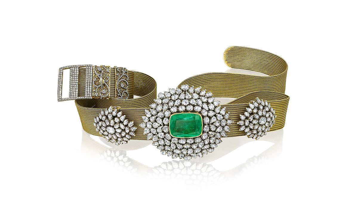 Diamond and emerald studded gold best from Gem Palace