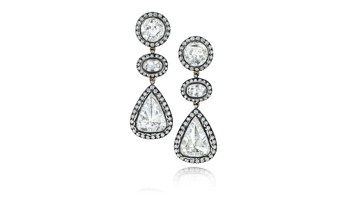 Antique finish diamond ear drops from Gem Palace
