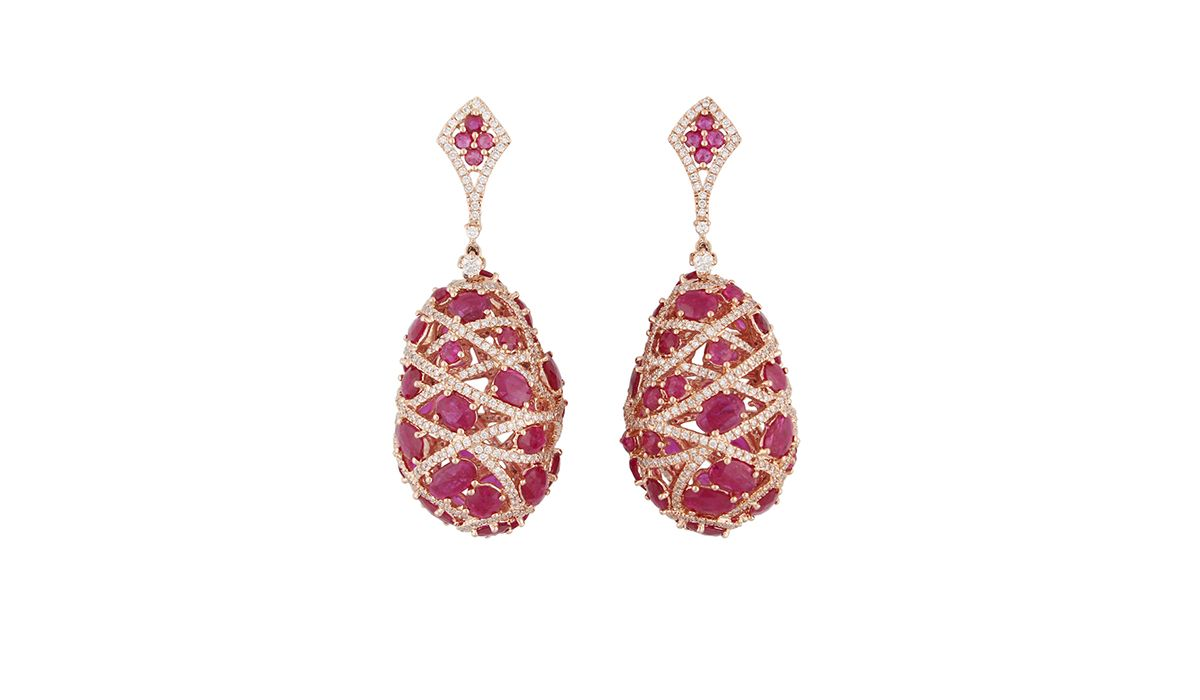 Gem Plaza diamond and ruby earrings