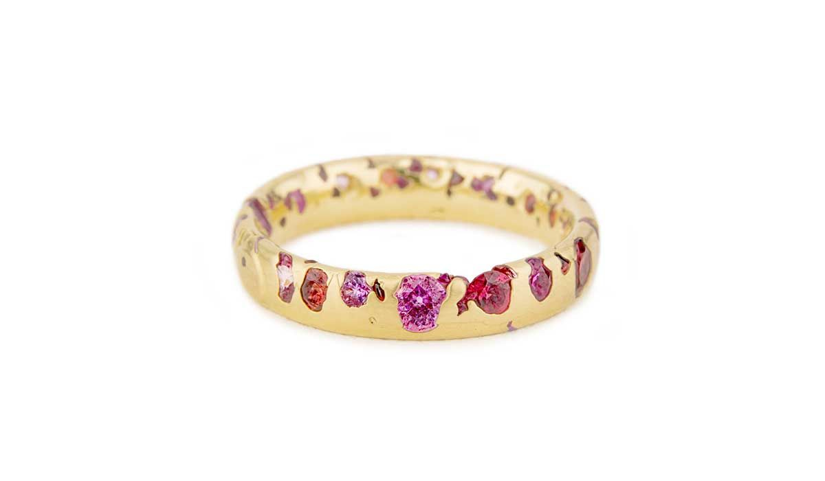 Gold Confetti ring with sapphires and rubies, Polly Wales.