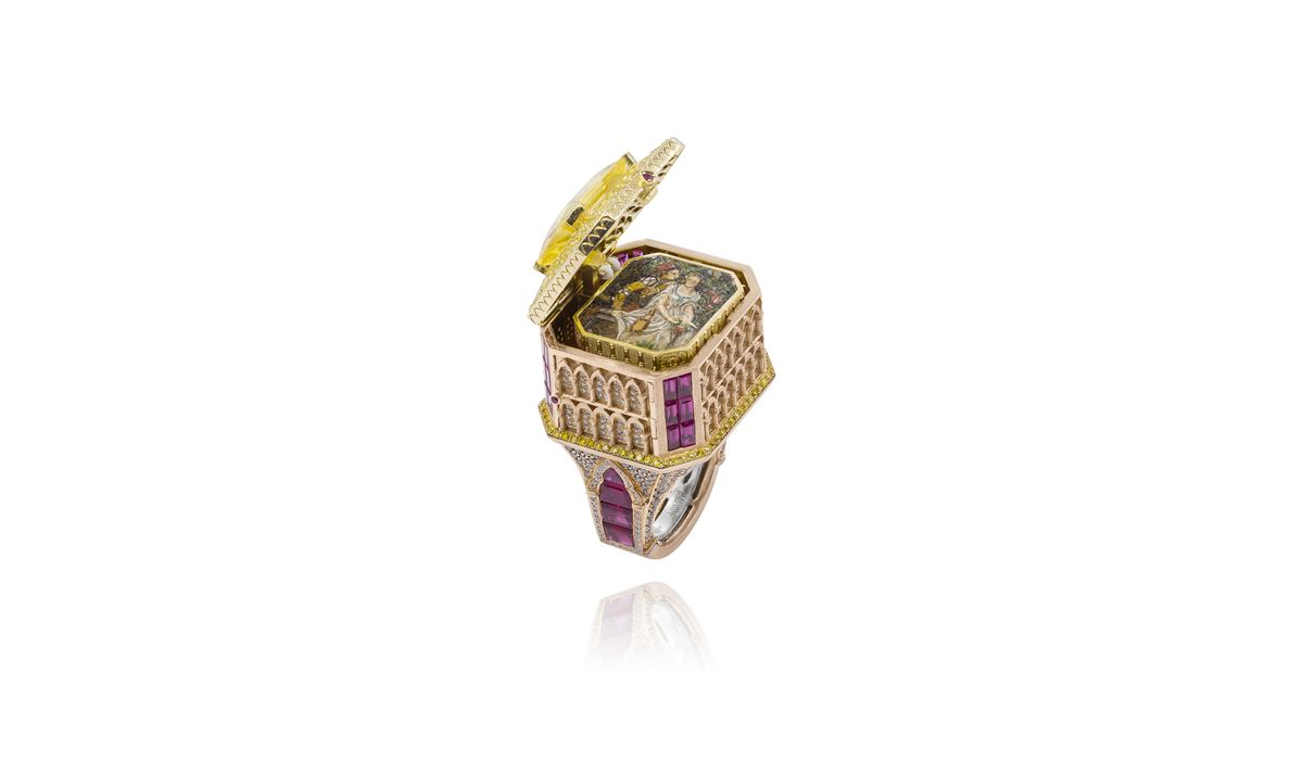 Romeo and Juliet ring featuring an emerald-cut yellow sapphire and a micro mosaic miniature by Alessio Boschi