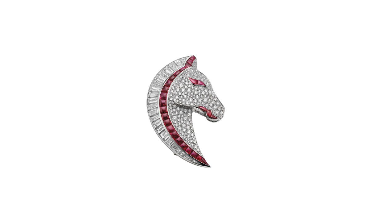 Horse-shaped brooch representing the symbol of the medieval feast Palio di Siena, Festa Italiana collection, Bulgari