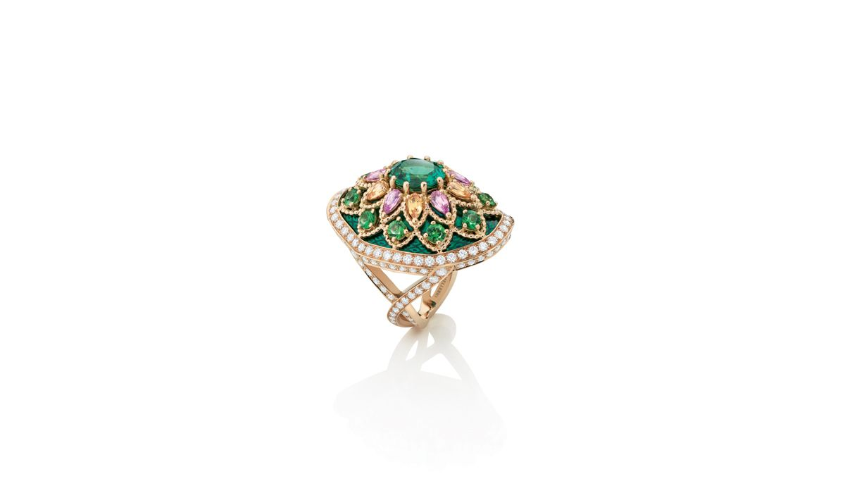 Giardino ring with green tourmalines, pink sapphires, spessartite and tsavorites garnets, and painted green enamel, Isola Madre High Jewellery collection, Mellerio