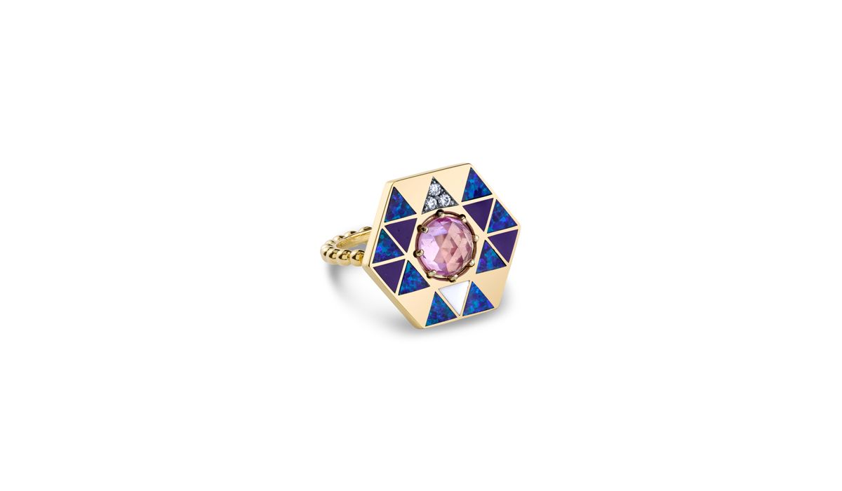 HARWELL GODFREY - VIDA RING WITH OPALS, ENAMEL AND PINK TOPAZ