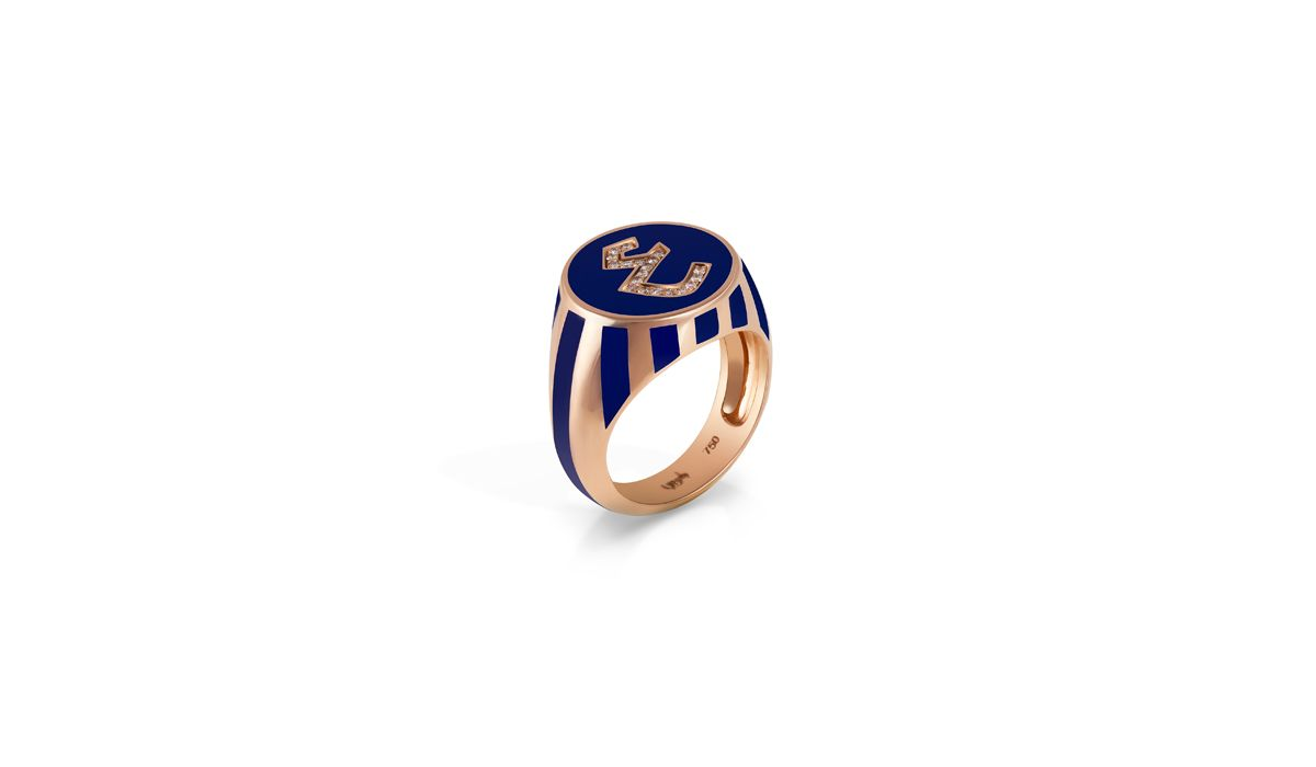 Signet ring in gold, diamond and enamel, Khatt collection, Bil Arabi