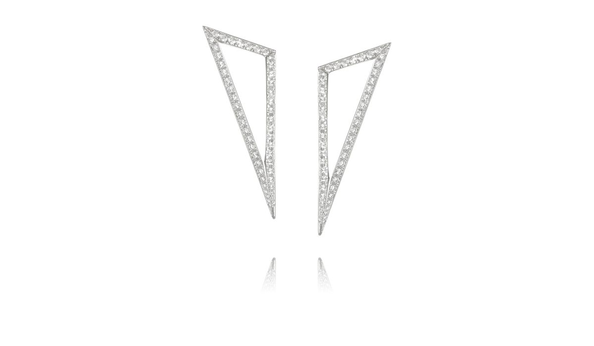 Modernist earrings with diamonds, Ralph Masri