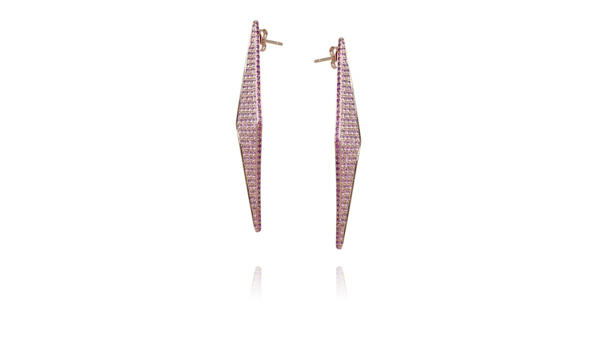 Modernist earrings with pink sapphires, Ralph Masri