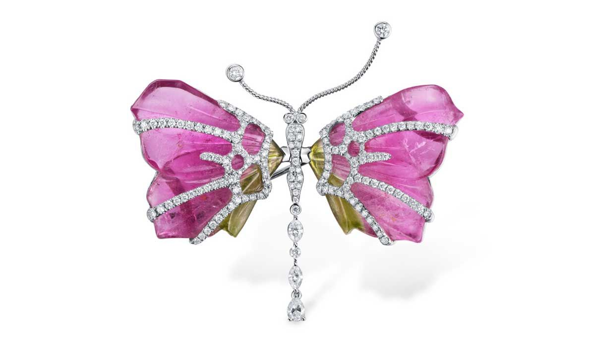Butterfly brooch set with white diamonds, Kelly Xie.