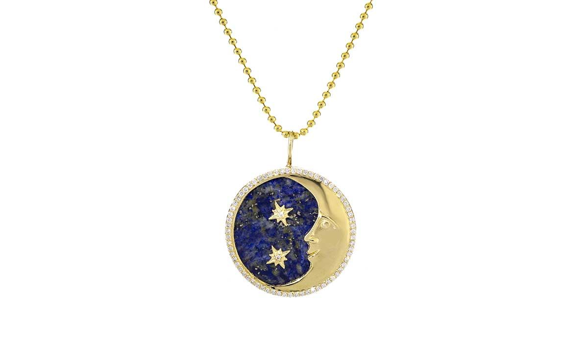 Moon and Stars necklace with lapis and diamonds, Little H.