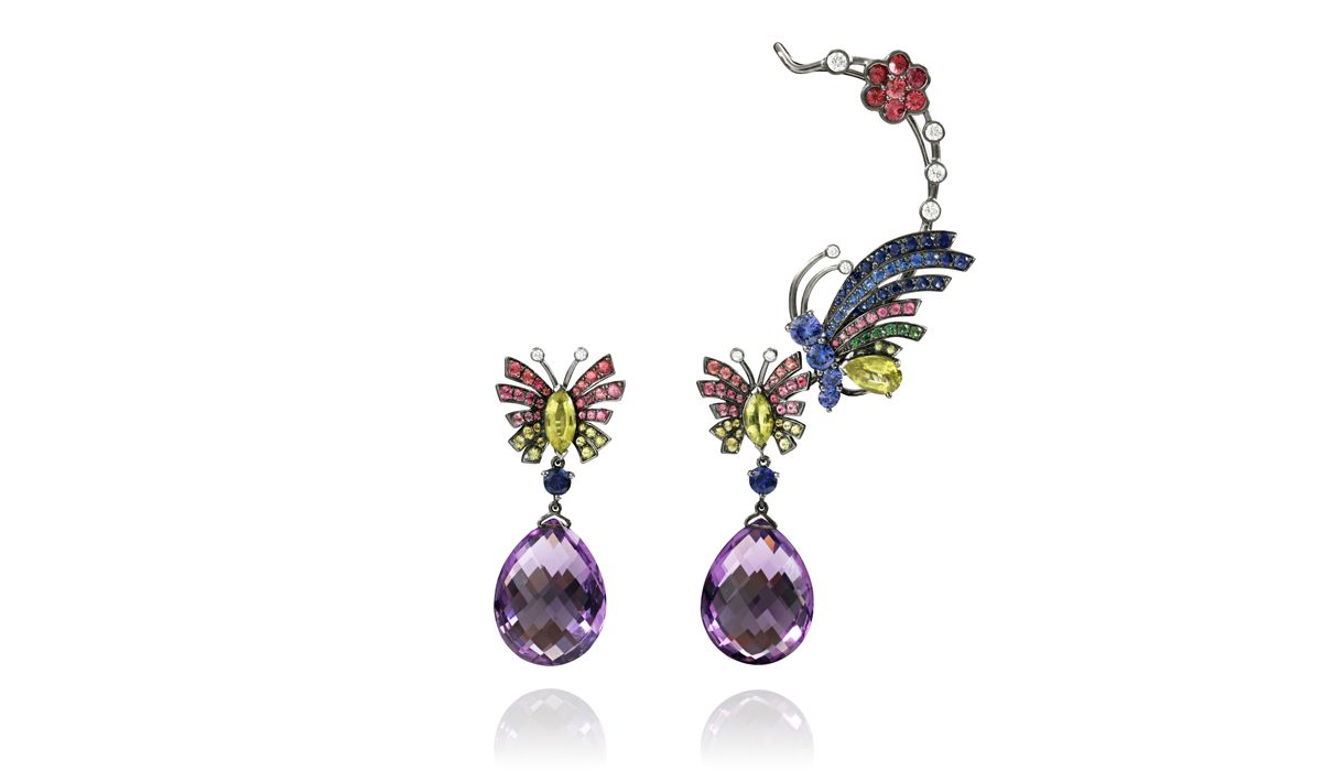 butterflies earrings with amethyst drops and precious stone