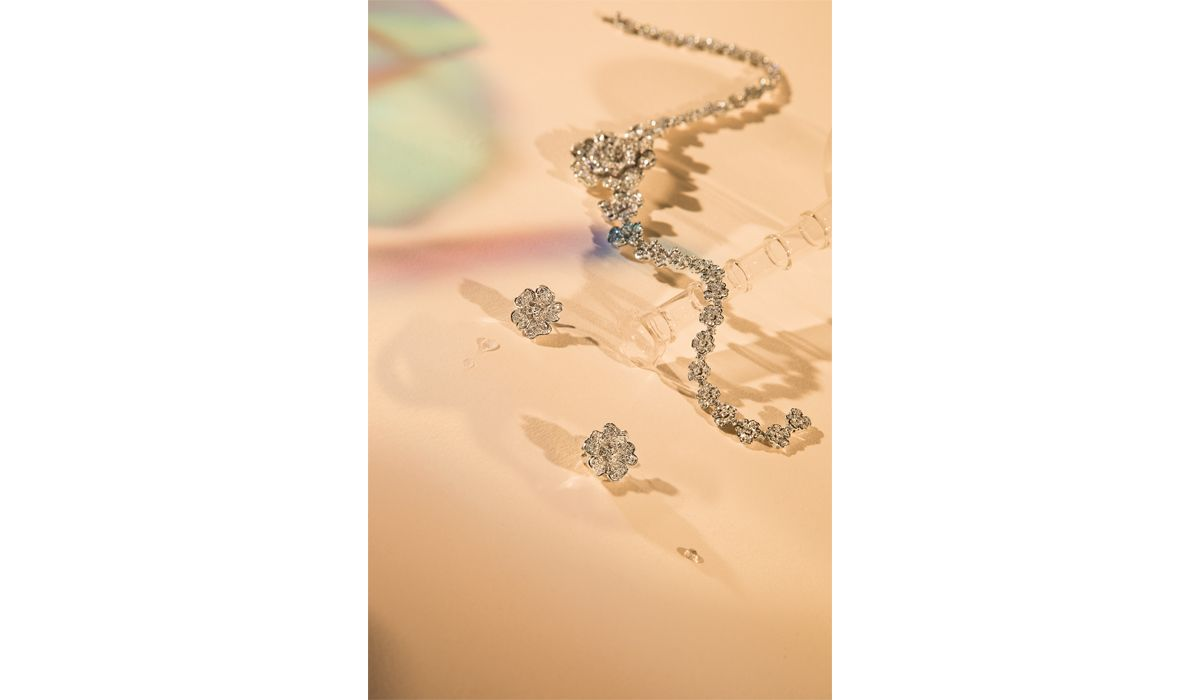 white gold and diamond flora necklace and earrings, leo pizzo