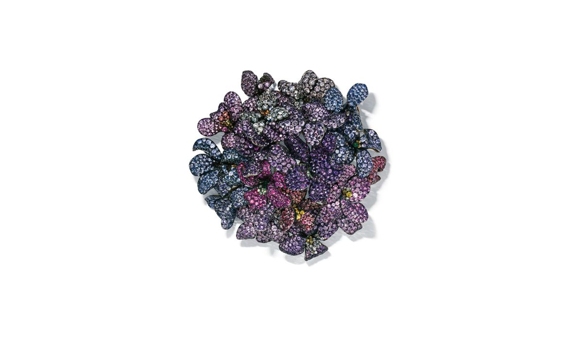 multi-gem bouquet of violets brooch by jar