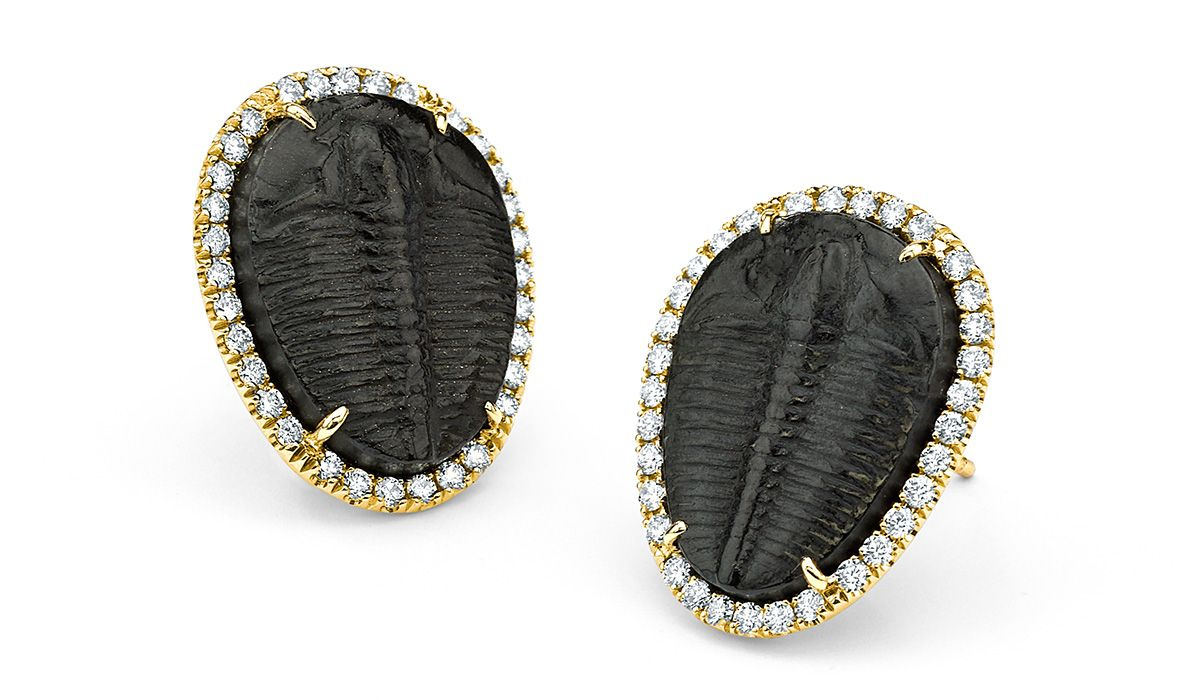Trilobite fossil earrings, with white and black diamonds