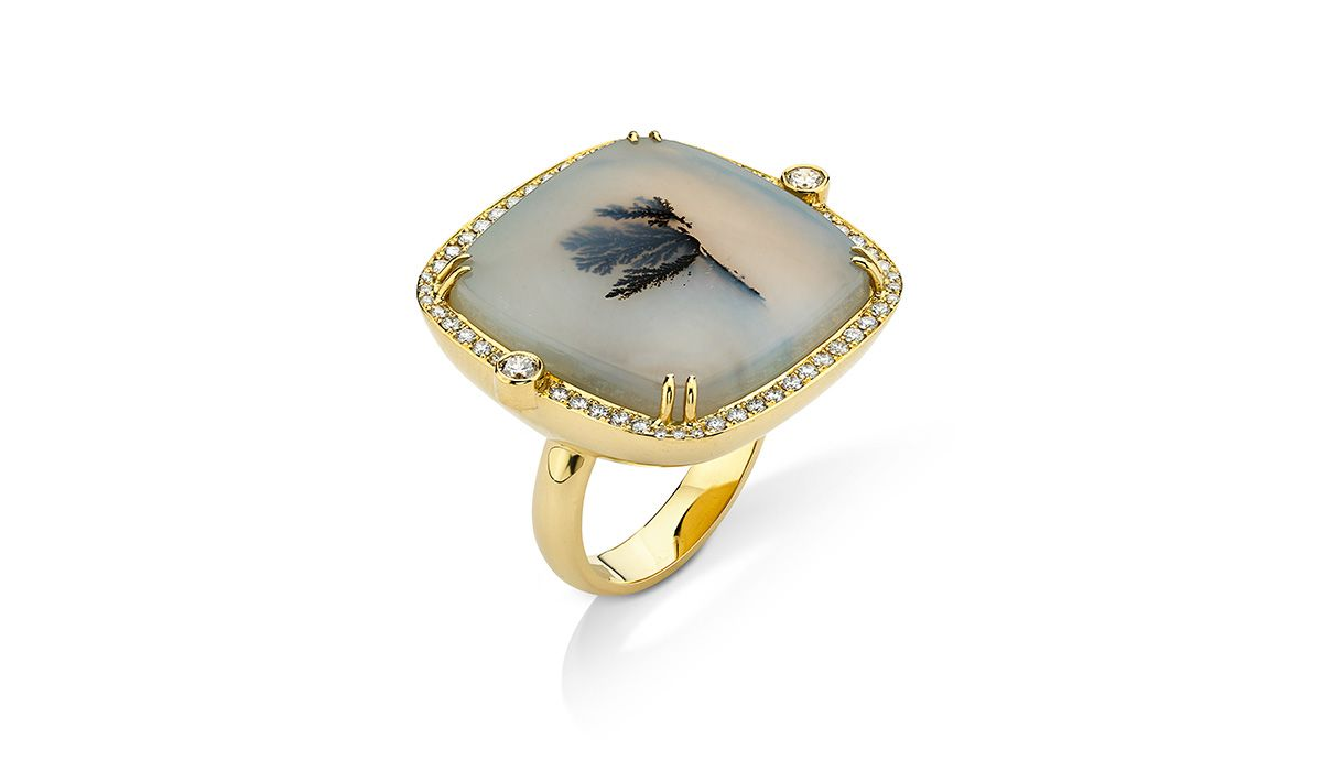 Dendrite agate ring with white diamonds