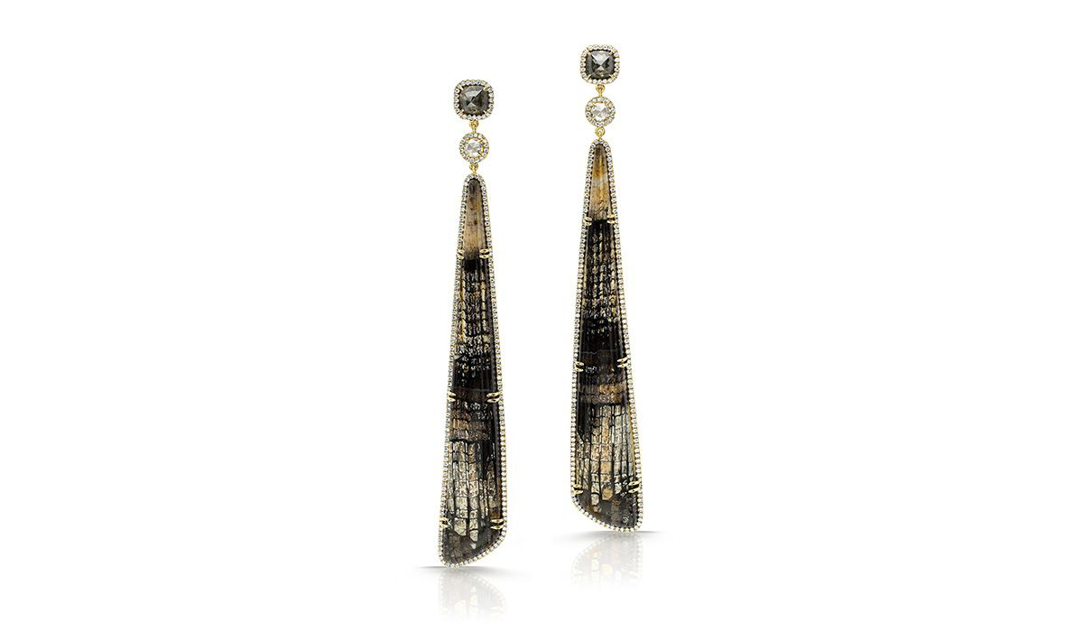 Fossilized oak earrings, with white and black diamonds