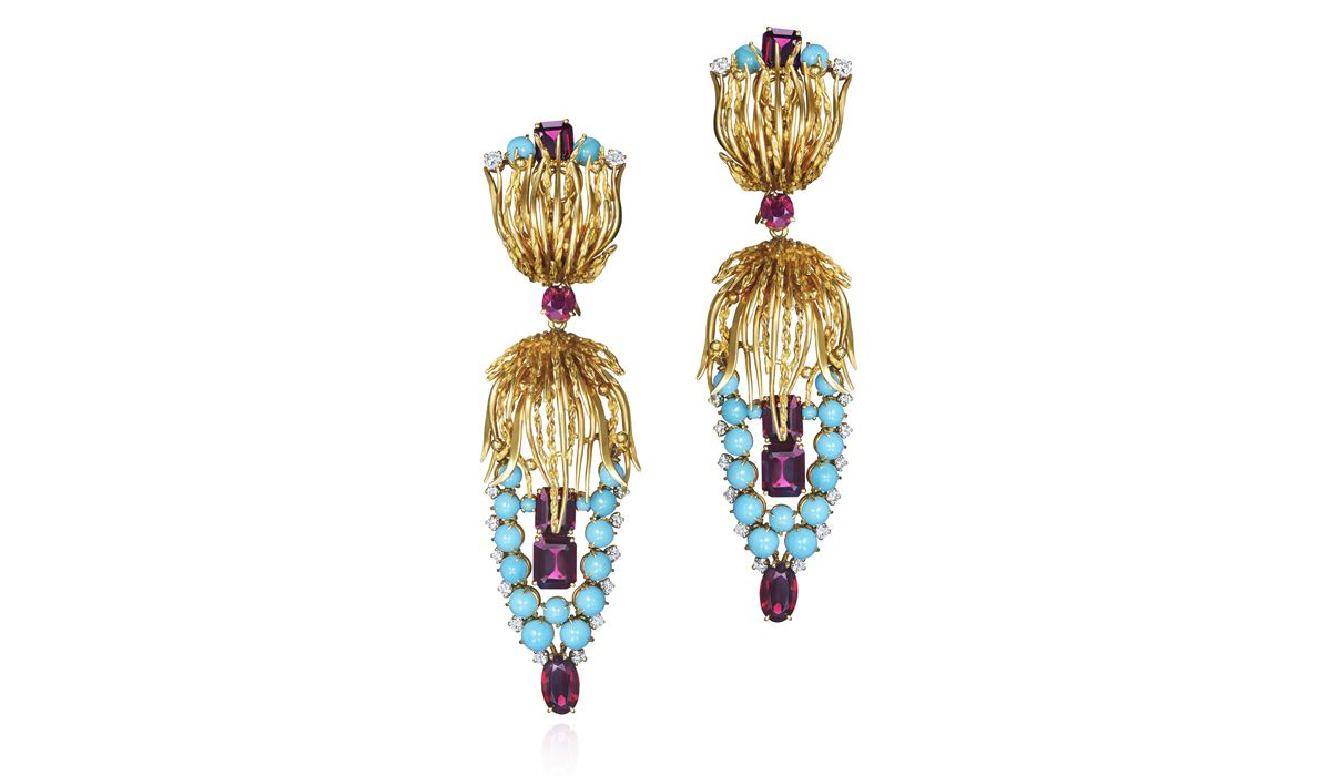 Yellow gold, turquoise and garnet pendant earrings, circa 1960s.