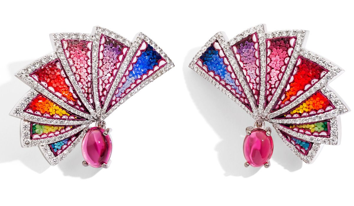 White gold earrings with micromosaic, diamonds and rubellite. Aura Eos Collection