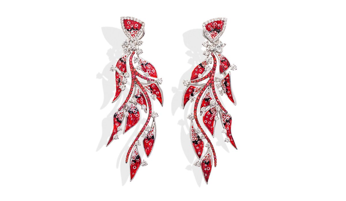 Pendant earrings in white gold, red and black micromosaic, diamonds and rubies. Nebulosa Supernova Collection