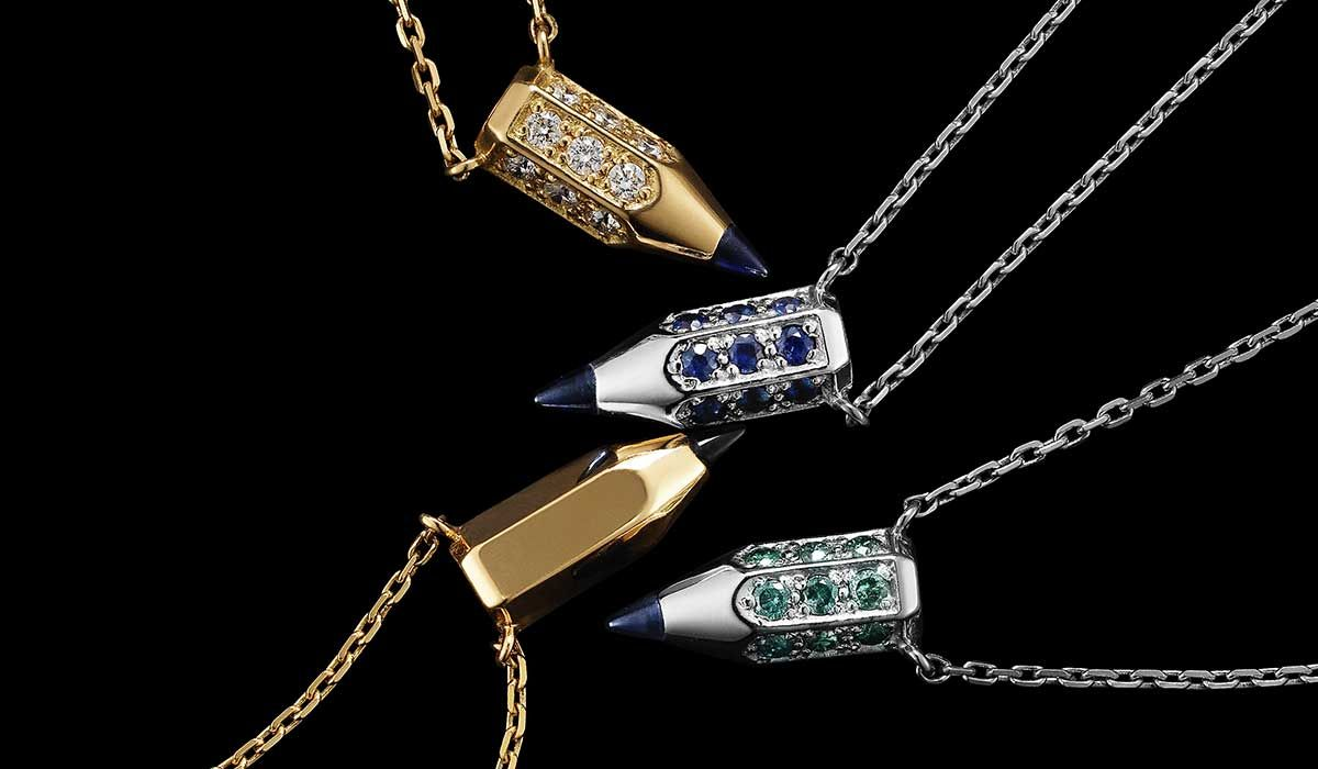 Mini Pencil pendant necklaces with precious stones.