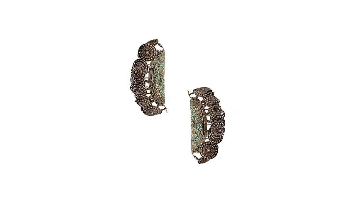 Enamel studded silver earrings from Himachal Pradesh from 19th-20th century