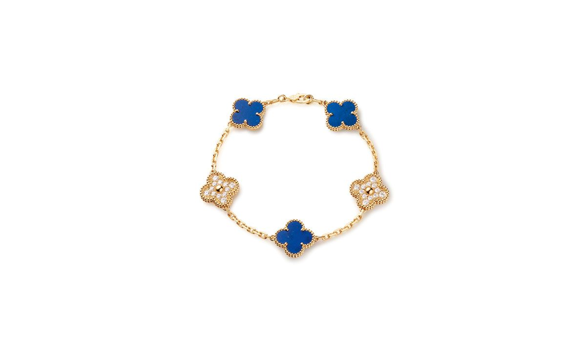Bracelet in yellow gold with lapis lazuli and diamonds