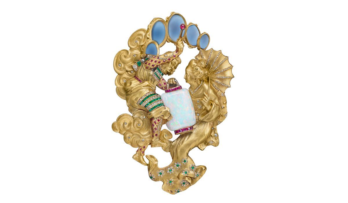 Japanese-style brooch representing Raijin, god of rain and thunder Joseph Chaumet, circa 1900