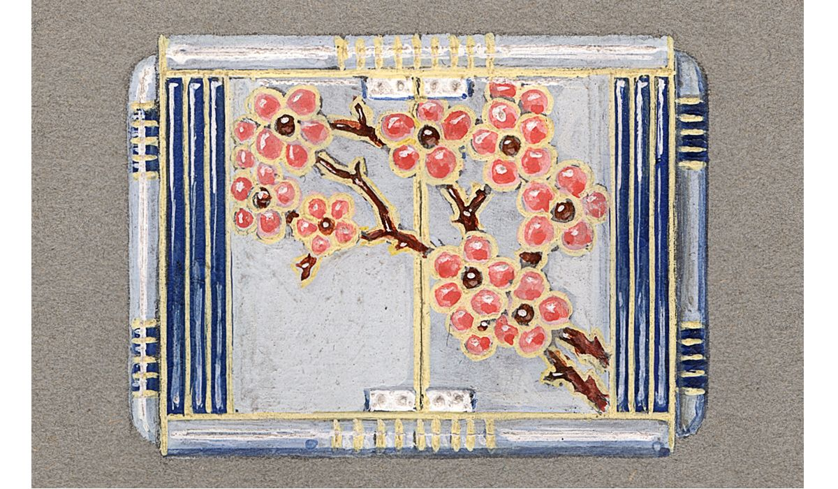 Chaumet design studio, circa 1925, Enamelled handbag-watch representing a blossoming cherry tree